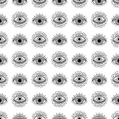Seamless pattern with hand drawn eye, illustration