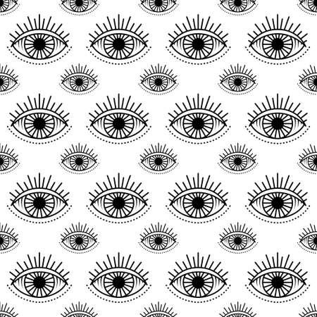 Seamless pattern with hand drawn eye, illustration Illustration