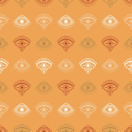 Seamless pattern with hand drawn eye, vector illustration