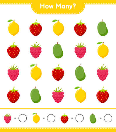 Counting game, how many fruits educational children game, printable worksheet, vector illustration