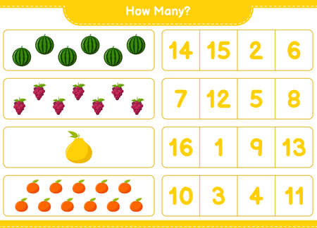 Counting game, how many fruits. Educational children game, printable worksheet, vector illustration