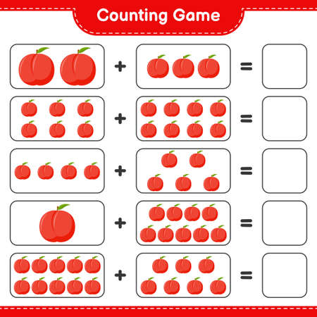 Counting game, count the number of Raspberries and write the result. Educational children game, printable worksheet, vector illustration