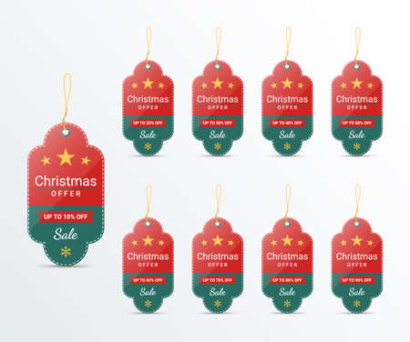 Christmas price tag design template for promotion, vector illustration
