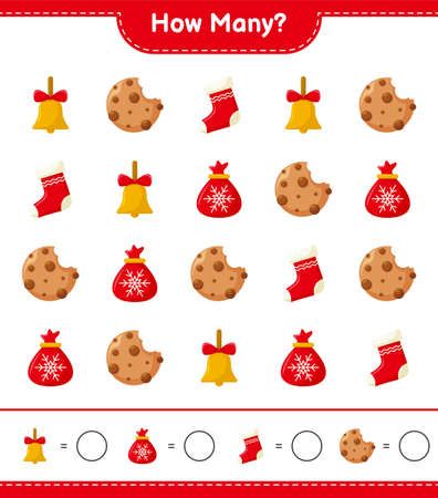Counting game, how many christmas decoration educational children game, printable worksheet, vector illustration