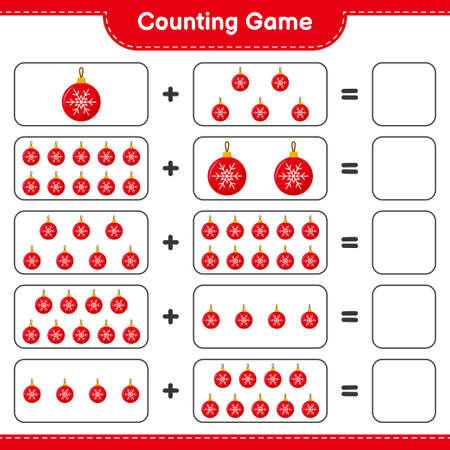 Counting game, count the number of Mittens and write the result. Educational children game, printable worksheet, vector illustration 向量圖像