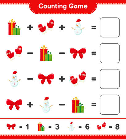 Counting game, count the number of christmas decoration and write the result. Educational children game, printable worksheet, vector illustration