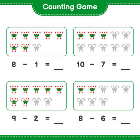 Counting game, count the number of Snowman and write the result. Educational children game, printable worksheet, vector illustration Stock Illustratie