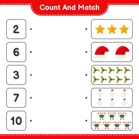 Count and match, count the number of Christmas Decoration and match with right numbers. Educational children game, printable worksheet, vector illustration Ilustracje wektorowe