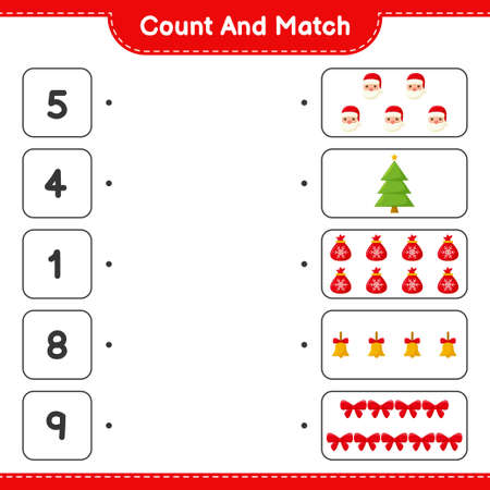 Count and match, count the number of Christmas Decoration and match with right numbers. Educational children game, printable worksheet, vector illustration