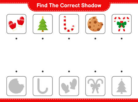Find the correct shadow. Find and match the correct shadow of Christmas Decoration. Educational children game, printable worksheet, vector illustration