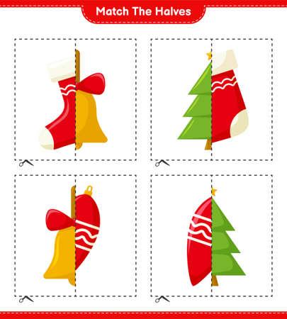 Match the halves. Match halves of Christmas Decoration. Educational children game, printable worksheet, vector illustration