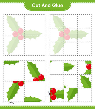 Cut and glue, cut parts of Santa Claus and glue them. Educational children game, printable worksheet, vector illustration