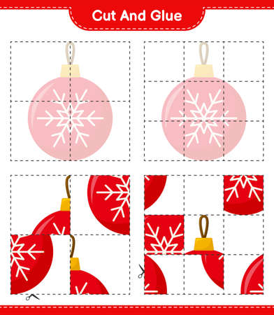 Cut and glue, cut parts of Candy Canes and glue them. Educational children game, printable worksheet, vector illustration