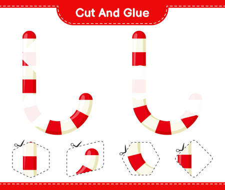 Cut and glue, cut parts of Candy Canes and glue them. Educational children game, printable worksheet, vector illustration Vecteurs