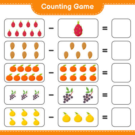 Counting game, count the number of Fruits and write the result. Educational children game, printable worksheet, vector illustration