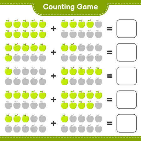 Counting game, count the number of Apple and write the result. Educational children game, printable worksheet, vector illustration