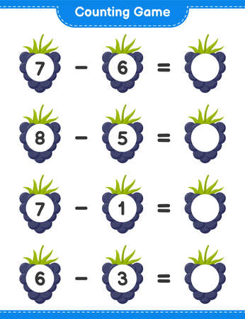 Counting game, count the number of Pineapple and write the result. Educational children game, printable worksheet, vector illustration