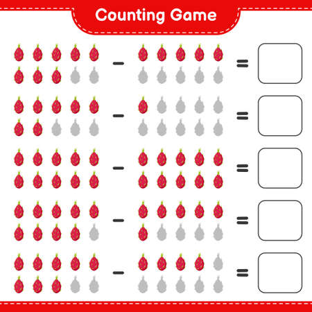 Counting game, count the number of Pitaya and write the result. Educational children game, printable worksheet, vector illustration Illustration