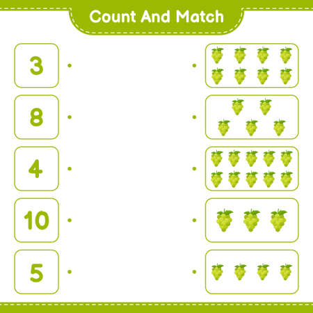 Count and match, count the number of Fruits and match with right numbers. Educational children game, printable worksheet, vector illustration