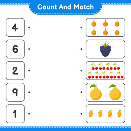 Count and match, count the number of Fruits and match with right numbers. Educational children game, printable worksheet, vector illustration 矢量图像