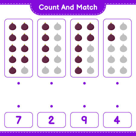 Count and match, count the number of Fruits and match with right numbers. Educational children game, printable worksheet, vector illustration Illustration