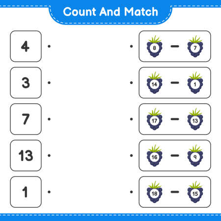 Count and match, count the number of Blackberries and match with right numbers. Educational children game, printable worksheet, vector illustration