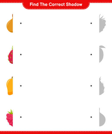 Find the correct shadow. Find and match the correct shadow of Fruits. Educational children game, printable worksheet, vector illustration