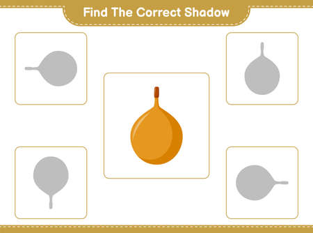 Find the correct shadow. Find and match the correct shadow of Grape. Educational children game, printable worksheet, vector illustration Vetores