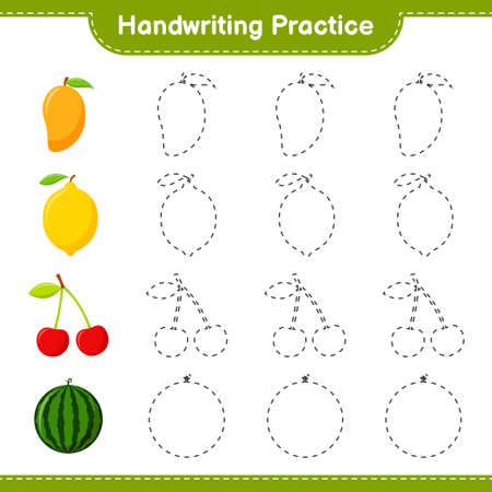 Handwriting practice. Tracing lines of Fruits. Educational children game, printable worksheet, vector illustration Ilustração