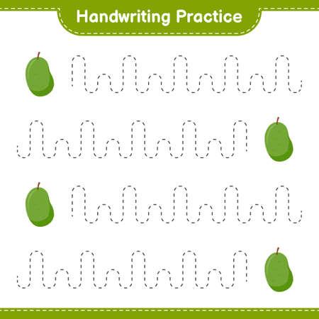 Handwriting practice. Tracing lines of Fruits. Educational children game, printable worksheet, vector illustration 矢量图像