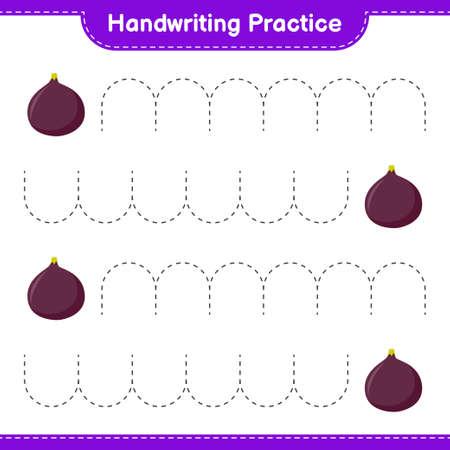Handwriting practice. Tracing lines of Pineapple. Educational children game, printable worksheet, vector illustration Ilustración de vector