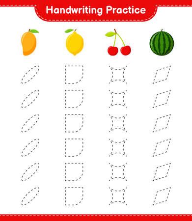 Handwriting practice. Tracing lines of Fruits. Educational children game, printable worksheet, vector illustration