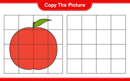Copy the picture, copy the picture of Nectarine using grid lines. Educational children game, printable worksheet, vector illustration Ilustrace