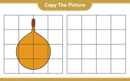 Copy the picture, copy the picture of Voavanga using grid lines. Educational children game, printable worksheet, vector illustration Ilustrace