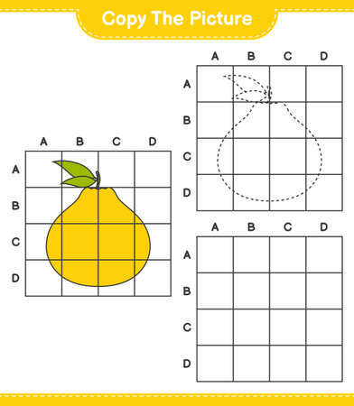 Copy the picture, copy the picture of Ugli using grid lines. Educational children game, printable worksheet, vector illustration