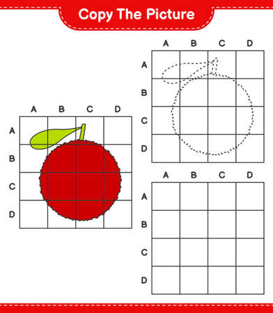 Copy the picture, copy the picture of Yumberry using grid lines. Educational children game, printable worksheet, vector illustration