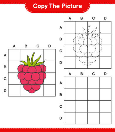 Copy the picture, copy the picture of Raspberries using grid lines. Educational children game, printable worksheet, vector illustration