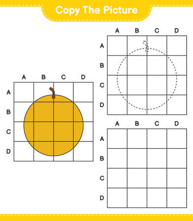 Copy the picture, copy the picture of Honey Melon using grid lines. Educational children game, printable worksheet, vector illustration