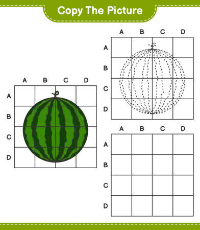 Copy the picture, copy the picture of Watermelon using grid lines. Educational children game, printable worksheet, vector illustration