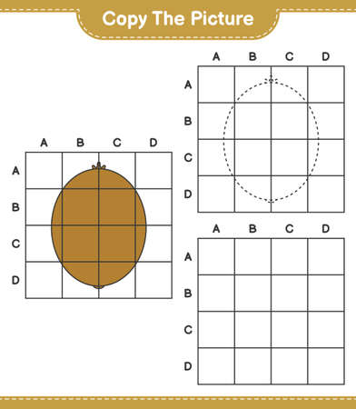 Copy the picture, copy the picture of Kiwi using grid lines. Educational children game, printable worksheet, vector illustration Ilustrace