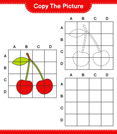 Copy the picture, copy the picture of Cherry using grid lines. Educational children game, printable worksheet, vector illustration Ilustrace