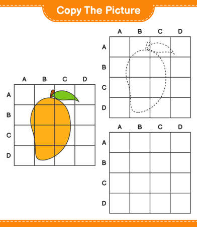 Copy the picture, copy the picture of Mango using grid lines. Educational children game, printable worksheet, vector illustration