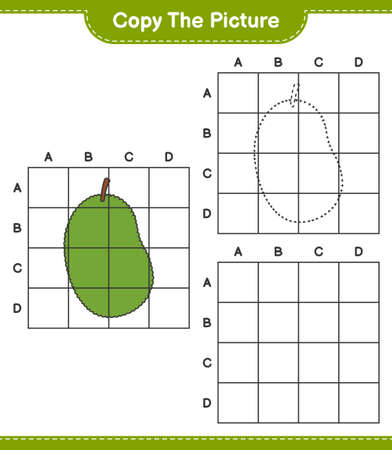 Copy the picture, copy the picture of Jackfruit using grid lines. Educational children game, printable worksheet, vector illustration