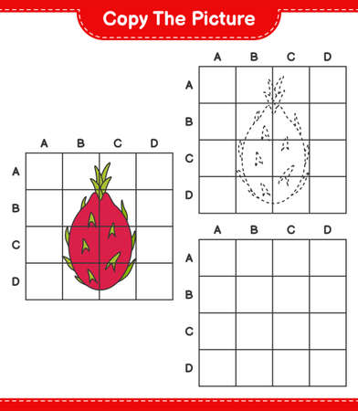 Copy the picture, copy the picture of Dragon Fruit using grid lines. Educational children game, printable worksheet, vector illustration