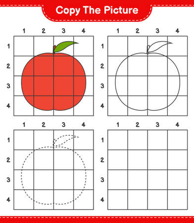Copy the picture, copy the picture of Nectarine using grid lines. Educational children game, printable worksheet, vector illustration