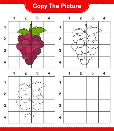 Copy the picture, copy the picture of Grape using grid lines. Educational children game, printable worksheet, vector illustration