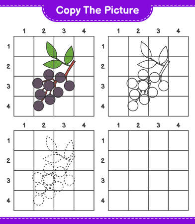 Copy the picture, copy the picture of Elderberry using grid lines. Educational children game, printable worksheet, vector illustration Ilustrace