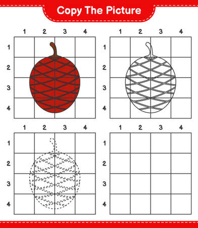 Copy the picture, copy the picture of Ita Palm using grid lines. Educational children game, printable worksheet, vector illustration