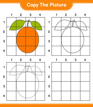 Copy the picture, copy the picture of Ximenia using grid lines. Educational children game, printable worksheet, vector illustration Ilustrace