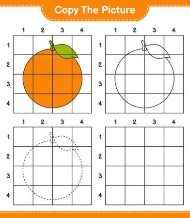 Copy the picture, copy the picture of Orange using grid lines. Educational children game, printable worksheet, vector illustration